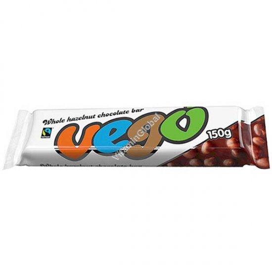 Вегетарианский шоколад без глютена с цельными лесными орехами 150 гр - Vego