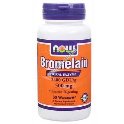 Бромелайн 500 мг 60 вегитарианских капсул - Now Foods