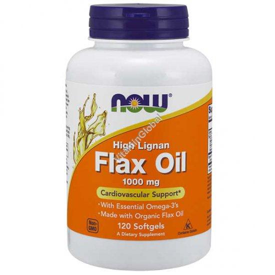 Льняное масло 1000 мг 120 мягких капсул - NOW Foods
