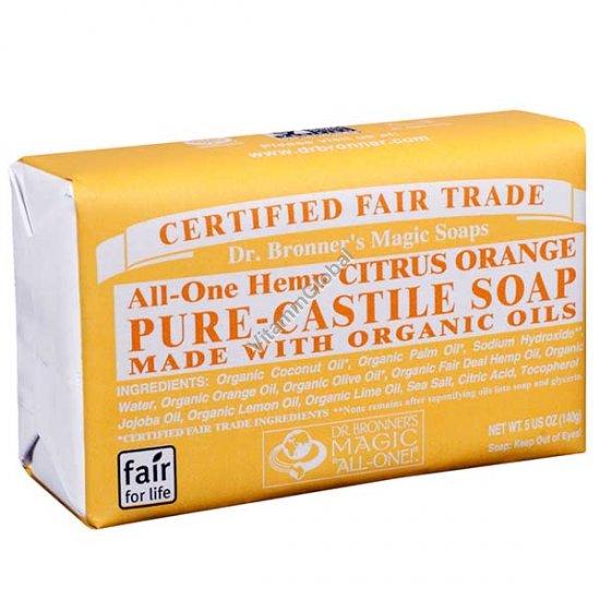 Натуральное мыло цитрусовое 140 гр - Dr. Bronner