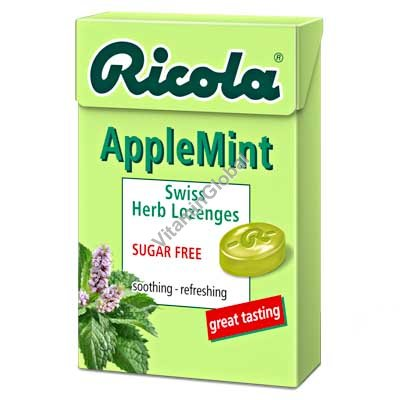 Леденцы без сахара с экстрактами трав со вкусом яблока и мяты 50 гр - Рикола