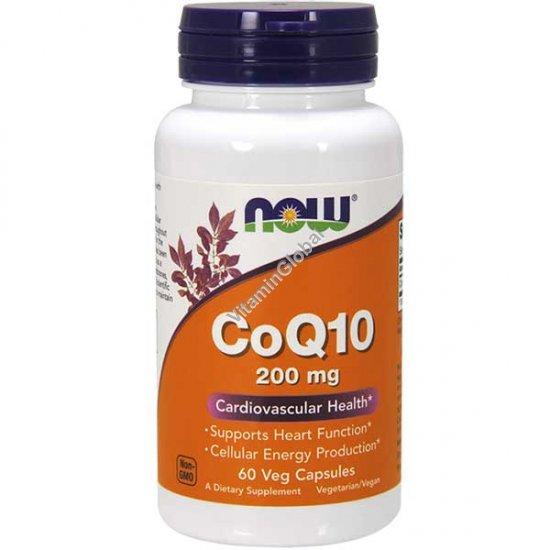Коэнзим Q10 200 мг 60 вегетарианских капсул - NOW Foods
