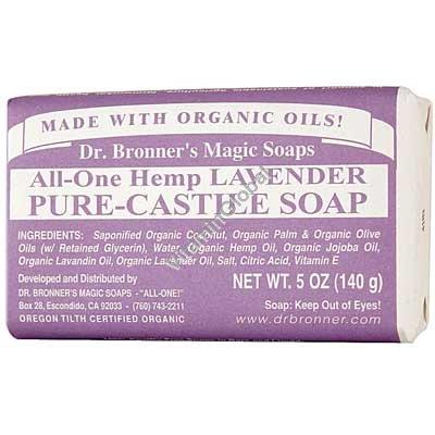Натуральное лавандовое мыло 140 гр - Dr. Bronner