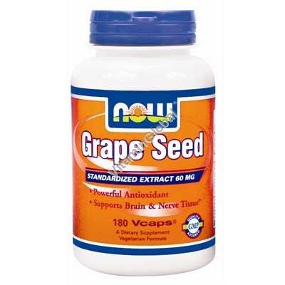 Экстракт виноградных косточек 60 мг 180 капсул - NOW Foods