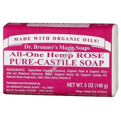 Натуральное розовое мыло 140 гр - Dr. Bronner