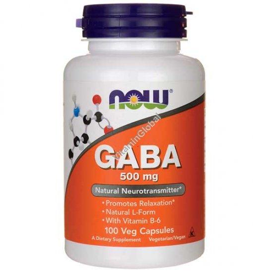 GABA 500 мг 100 вегетарианских капсул - NOW Foods