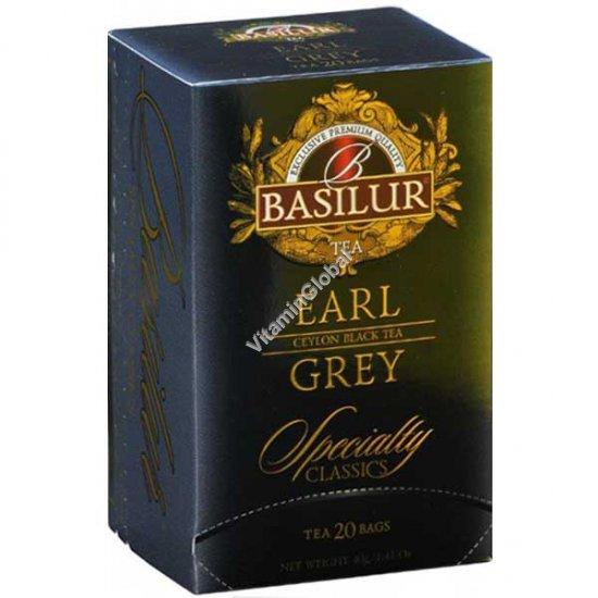 Черный цейлонский листовой чай Эрл Грей с бергамотом 20 пакетиков - Basilur