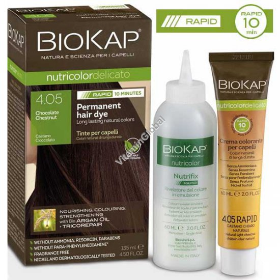 Стойкая краска для волос, цвет шоколадно-каштановый 4.05 - BioKap