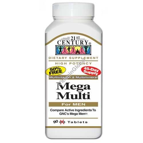 """Мультивитамин для мужчин """"Mega Multi"""" 90 таблеток - 21st Century"""