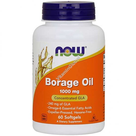 Масло Бораж 1000 мг с 240 мг GLA 60 мягких капсул - Now Foods