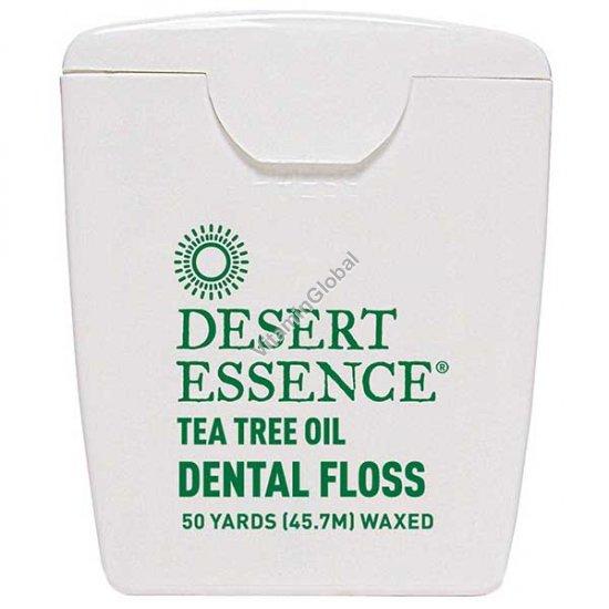 Вощеная зубная нить с маслом чайного дерева 45.7 метра - Desert Essence