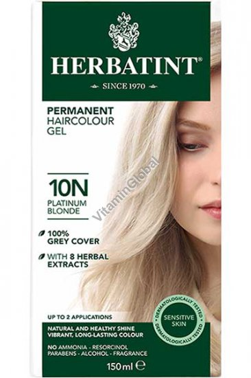 Краска для волос платиновый блонд 10N - Гербатинт
