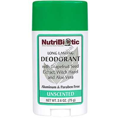 Натуральный дезодорант-стик без запаха с экстрактом грейпфрута 75 гр - NutriBiotic