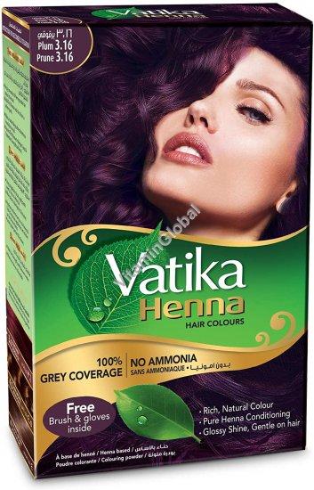 Краска для волос на основе порошка хны - сливовый цвет 60 гр (6 пакетиков по 10 гр) - Vatika