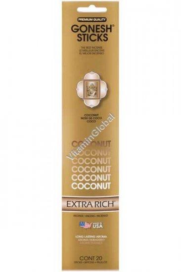 Ароматические палочки благовония с ароматом кокоса 20 палочек - Gonesh Sticks