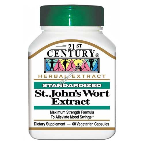Стандартизированный экстракт зверобоя 300 мг. 60 капсул - 21st Century