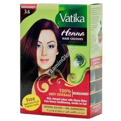 Краска для волос на основе порошка хны - цвет бургунди (бордовый) 60 гр. (6 пакетиков по 10 гр) - Vatika