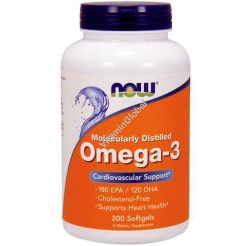 Омега-3 рыбий жир 200 мягких капсул - NOW Foods
