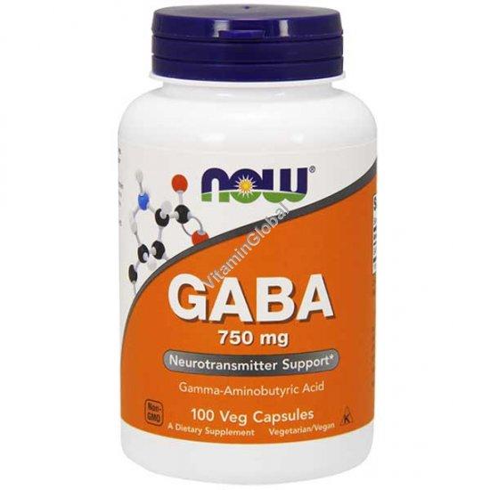 GABA 750 мг 100 вегетарианских капсул - NOW Foods