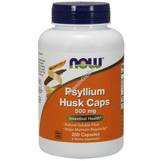Волокна подорожника 500 мг 200 капсул - NOW Foods