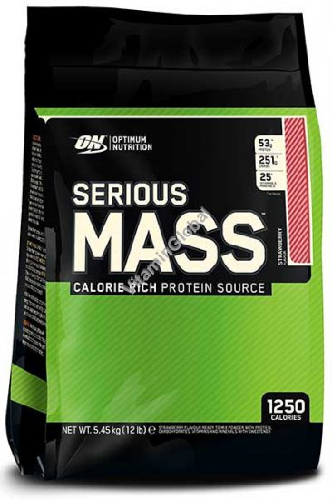 Гейнер Serious Mass клубничный вкус 5.455 кг - Optimum Nutrition
