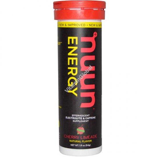 Растворимые таблетки для приготовления напитка-электролита с кофеином, вишневым вкусом 10 таблеток - Nuun Energy