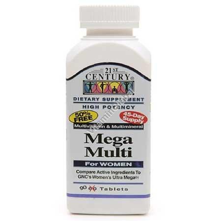 "Мультивитамин для женщин ""Mega Multi"" 90 таблеток - 21st Century"