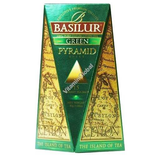 """Премиум зеленый цейлонский чай """"Чайный остров Цейлон"""" 15 чайных пакетиков пирамидок - Basilur"""
