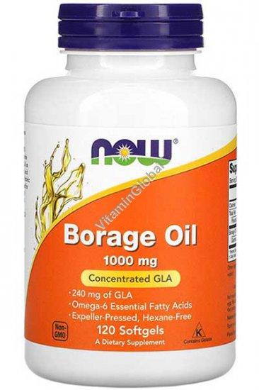 Масло Бораж 1000 мг с 240 мг GLA 120 мягких капсул - Now Foods