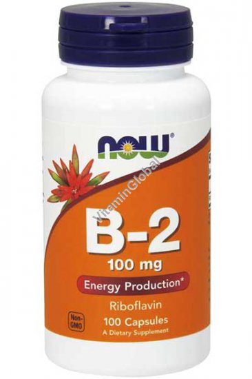 Витамин В-2 (Рибофлавин) 100 мг 100 капсул - NOW Foods
