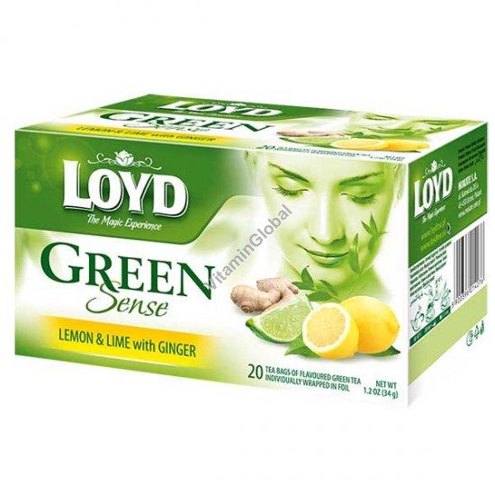 Зеленый чай с лимоном, лаймом и имбирем 20 фильтр-пакетиков - Loyd