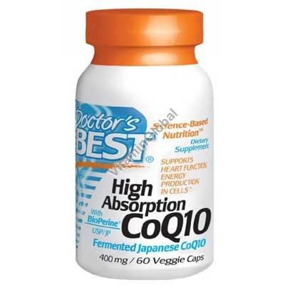 Коэнзим Q10 400 мг с БиоПерином 60 растительных капсул - Doctor\'s Best