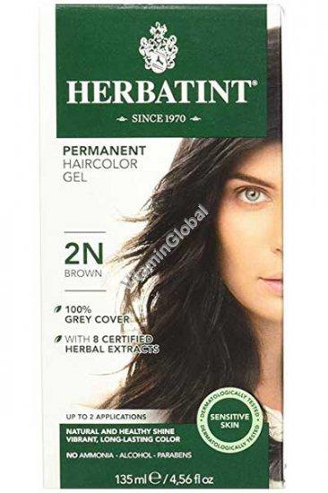Краска для волос коричневый цвет (2N) - Гербатинт