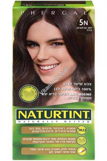 Стойкая краска для волос, цвет светло-каштановый 5N - Натуртинт