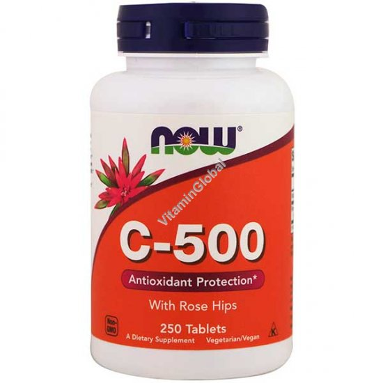 Витамин С 500 мг с шиповником 250 таблеток - NOW Foods
