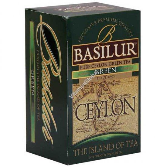 Зеленый цейлонский чай 20 пакетиков - Базилур