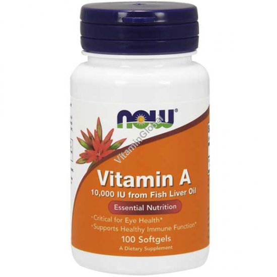 Витамин A 10,000 МЕ 100 мягких капсул - NOW Foods