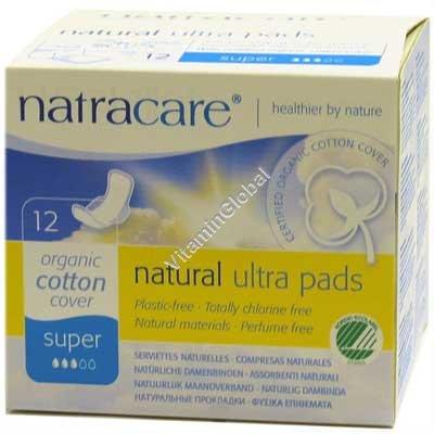 Натуральные прокладки супер с крылышками 12 шт - Natracare