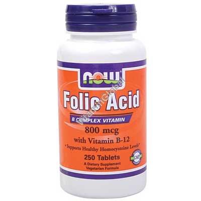 Фолиевая кислота 800 мкг и витамин В12 250 таблеток - NOW Foods