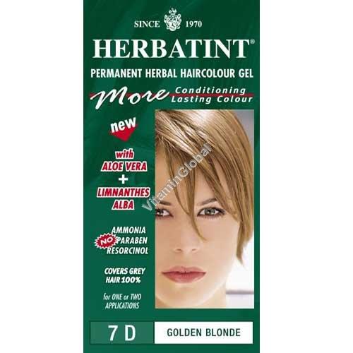 Краска для волос золотистый блонд (7D) - Гербатинт