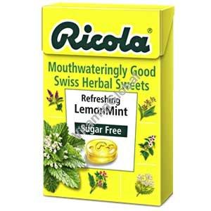 Леденцы без сахара с экстрактами трав со вкусом лимона и мяты 50 гр - Рикола