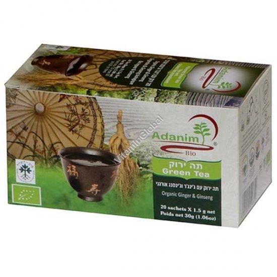 Органический зеленый чай с женьшенем и имбирем 20 пакетиков - Аданим