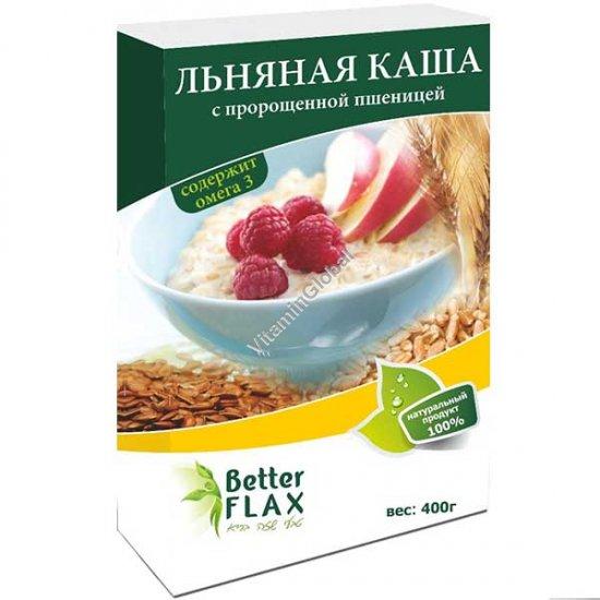 Натуральная льняная каша с пророщенной пшеницей быстрого приготовления 400 гр - Better Flax