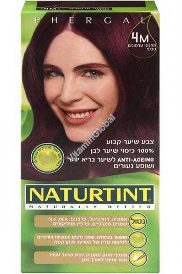 Стойкая краска для волос, цвет каштановый с красным оттенком 4М - Натуртинт
