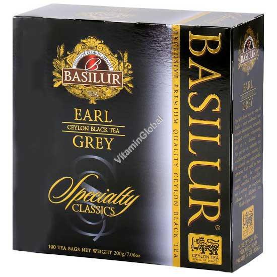 Черный цейлонский листовой чай Эрл Грей с бергамотом 100 пакетиков - Basilur