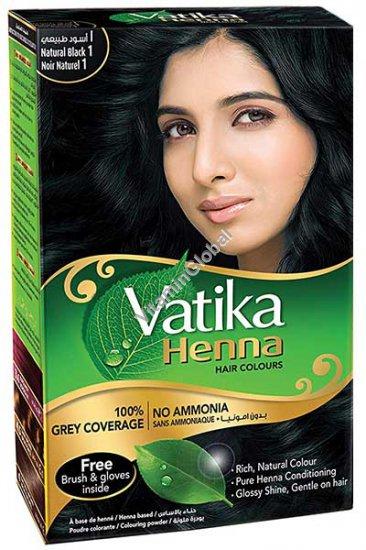 Краска для волос на основе порошка хны - натуральный черный цвет 60 гр. (6 пакетиков по 10 гр) - Vatika
