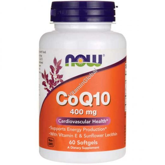 Коэнзим Q10 400 мг 60 мягких капсул - NOW Foods