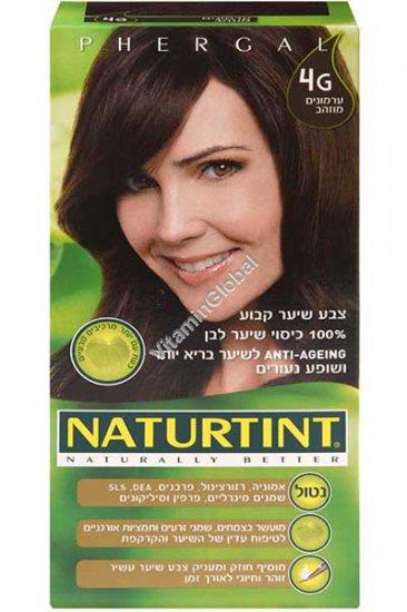 Стойкая краска для волос, цвет золотисто-каштановый 4G - Натуртинт