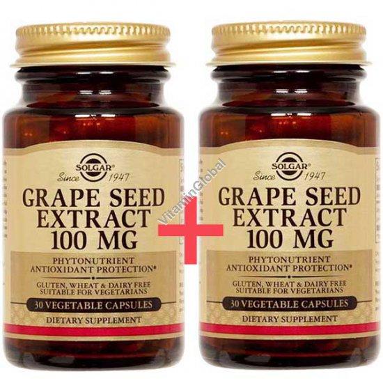 Экстракт виноградных косточек 100 мг 60 (30+30) растительных капсул - Солгар