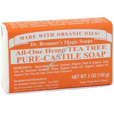 Натуральное мыло с маслом чайного дерева 140 гр - Dr. Bronner